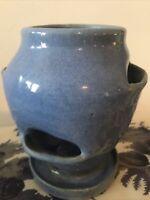 """Vintage 6 1/2"""" Blue Pottery Strawberry/Succulent Pot w/ Saucer Drain Planter"""