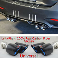 63mm 89mm Carbon Fiber Car SUV Dual Exhaust Pipe Tail Muffler Tip Chrome Blue 2X