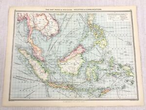 1909 Antique Map of Borneo East Indies Indo China Communications George Philip