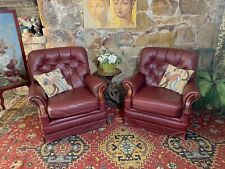 Pair Vintage Chesterfield Leather Armchairs Lounge Chair~Antiqued Burgundy