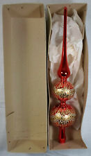 CHRISTMAS VTG 70's CHRISTMAS TREE 13'' GLASS RED TOPPER SPARKLE UNUSED IN BOX