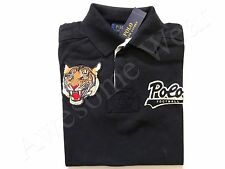 New Ralph Lauren Polo Custom Fit 100% Cotton Vintage Black Tiger Logo Shirt S