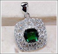 3CT Emerald Quartz & White Topaz 925 Solid Genuine Sterling Silver Pendant