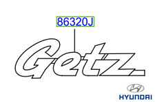 Genuine Hyundai Getz 2002- Rear Getz Badge Emblem - 863201C000