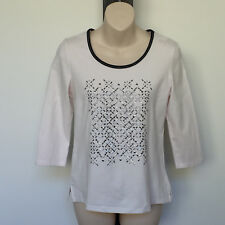 'NONI B' EC SIZE 'S' WHITE 3/4 SLEEVE TOP WITH BLACK & SILVER TRIM & SEQUINS