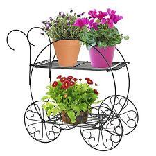 Sculped Metal Wagon Pots Stand Planter Wheel Garden Flower Cart Victorian Decor