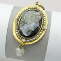 Antique Victorian 10k Gold Seed Pearl Halo Carved Onyx Hardstone Cameo Pendant