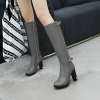 Womens Fashion Round Toe Buckle Strap Pumps High Heels Knee High Boots Plus Size