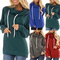Womens Girls Winter Slogan Blouse Tops Cotton Long Sleeve Plus Size Sweatshirt