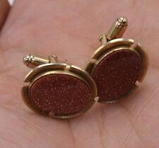 Italian Italy Vtg Quality Goldstone Gold Stone Oval Cuff Links Gold Tone
