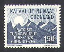 Greenland 1978 Constitution/Sun/Mountains/Politics/Government 1v (n37754)