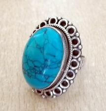 925 STERLING SILVER BLUE TURQUIOSE BAND RING (US 6.25 UK M 1/2)