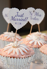 MR & MRS CUPCAKE TOPPERS JUST MARRIED CAKE DECS - 10 HEART FLAGS - ANY COLOUR!