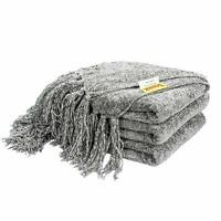 60 x 50 Knitted Throw Blanket Fluffy Chenille Cover Blankets Home Bed Sofa Gray