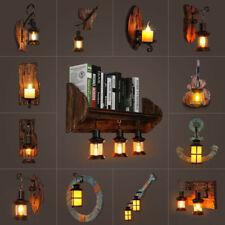 Vintage Wooden Lighting Industrial Wall Light Cafe Corridor Lamp Porch Lights