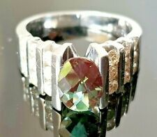 Modern Fancy Cut Blue Green Tourmaline Diamond 14k white gold ring/band