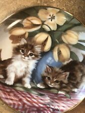 Franklin Mint Heirloom Tabbies and Tulips Cat Collector Plate By Brain Walsh