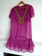 """Ladies Lovely B Soul Pink Gold Button Detail Tunic Party Top Size L Pit~Pit 19"""""""