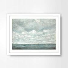 CLOUDY HORIZON SEASCAPE PAINTING SEASIDE NAUTICAL ART PRINT Decor Wall Picture