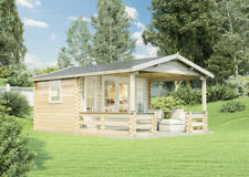 Gartenhaus Lappland-B Holz 380x300+280 cm Satteldach Blockhaus Gerätehaus Laube