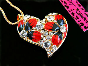 Betsey Johnson Crystal Heart Pendant Sweater Chain Necklace