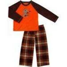 NWT-Boys Carters Brown Plaid Orange Monkey 2 Pc Winter Fleece Pajamas Set-sz 2T