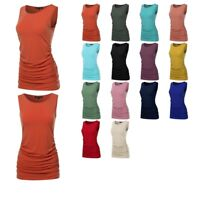FashionOutfit Made by Emma Women's Basic Solid Side Ruched Sleeveless Tunic TOP