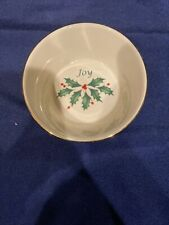 """Lenox Dimension Collection Holiday Round Dish """"Joy� Christmas Holly"""