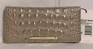 Brahmin Melbourne ADY Slim Bifold Leather Wallet MOONSCAPE Taupe Pearl Gray NWT
