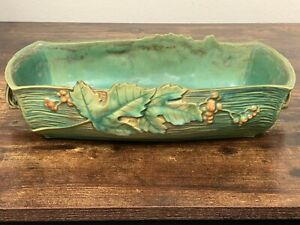 Green Roseville Bushberry 416 Handled Planter Console Bowl Art Pottery Dish! 37