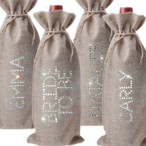 Personalised Wine Bottle Bag - Wedding Anniversary Champagne Prosecco Jute Linen