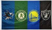 Oakland A's/Raiders & Golden State Warriors & San Jose Sharks flag 3x5ft Banner