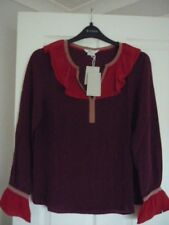 Boden Constance Silk Blouse Mulled Wine Colour Block UK 16 EUR 42-44 US 12 BN
