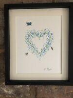 Butterfly, Bees Blue Floral Heart, Original Watercolour Painting, Original Art