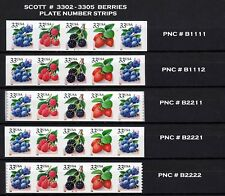 USA, SCOTT # 3302-3305, SET OF 5 STRIPS OF 5 PNCs WITH ALL DIFFERENT NUMBERS MNH