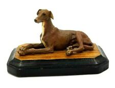 Vintage Greyhound Figurine On Wood Base
