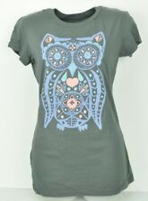 Savvy Cotton Large L Gray Purple Blue Owl Crew Neck Ladies Tshirt Women Tee
