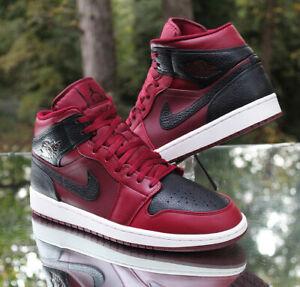 Nike Air Jordan 1 Mid Reverse Banned Men's Size 12 Team Red Black 554724-601