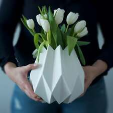 NEW Menu Folded Vase Pot White Tall Nordic Ceramic Plant Display Flower Decor