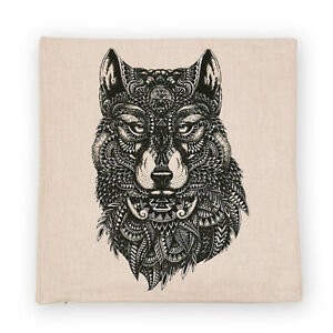 Cat/Wolf/Rhino/Kwala Line Drawing Black and White Art Square Cushion Cover 45x45