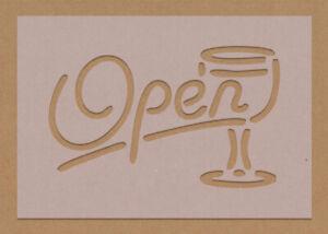 Bar Open Sign Stencil Garden Man Cave Wine Gin Glass A6 A5 A4 A3