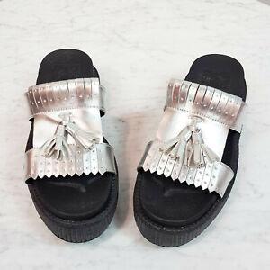 T.U.K.   Womens Limited Edition Silver Kiltie Slip on sandal / shoes [ EUR 37 ]