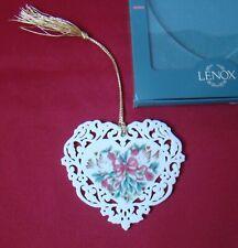 1994 Victorian Lace Lenox Valentine Heart Ornament Porcelain Pierced Doves