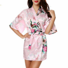 New Short Wedding Bride Bridesmaid  Silk stain Robe Women Floral Bathrobe Kimono