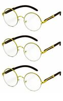 3 PACK / COMBO Men's Retro Style Round Clear Lens EYE GLASSES Gold & Wood Frame