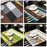 Waterproof Placemats Vintage PVC Insulation Plaid Dining Table Mats Pad Coaster/
