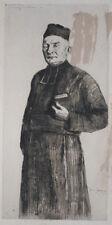 ANDRE JACQUES - Rare Original Etching - PARISH PRIEST OF ANNECY LE VIEUX 1911