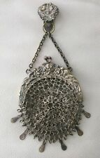 Antique Silver T Chatelaine Belt Clip Fancy Chain Mail Mesh Kilt Purse 1890s