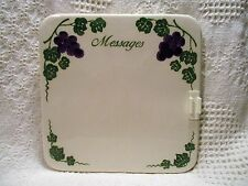 "Ceramic Message Tile from The Crock Shop '97 Grapes & Vines 7-3/8"" square"