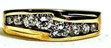 14K Yellow Gold 6.7Mm Band Ring Round Brilliant Cut Natural 1Ctw Diamond Solid